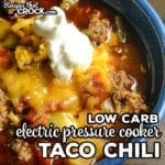 Our Electric Pressure Cooker Taco Chili is a quick and easy low carb soup to make in your Instant Pot or Ninja Foodi. This beefy chili has a hearty mix of tomatoes, peppers and zucchini. Taco seasoning and cumin add a smoky flavor to this low carb chili.