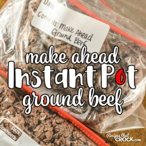 Are you looking for a Make Ahead Ground Beef Recipe for your electric pressure cooker? This Instant Pot Ground Beef Recipe cooks ground beef in bulk to freeze to make weeknight meal time a snap to throw together. We use this recipe regularly for batch cooking as an essential part of our low carb diet.