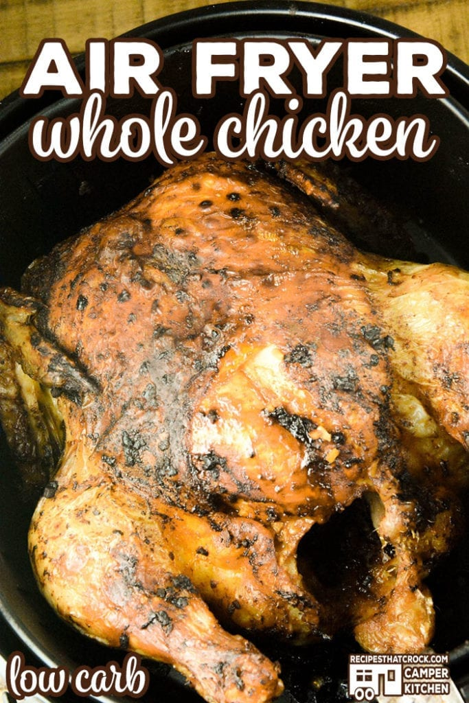 Our Air Fryer Whole Chicken is a great way to make a rotisserie style chicken at home. Perfectly seasoned, this chicken turns out tender and juicy every time. We enjoy using this recipe with both our traditional air fryer and using the air crisp feature with our Ninja Foodi.