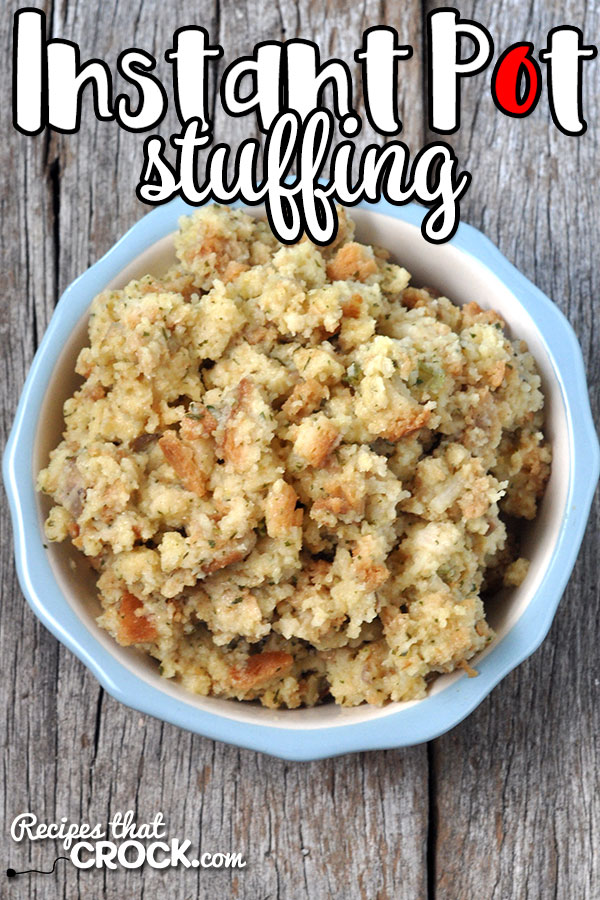 This Instant Pot Stuffing Recipe is quick, easy and perfect for freeing up your valuable stove space for holidays or for an easy side on a busy weeknight!