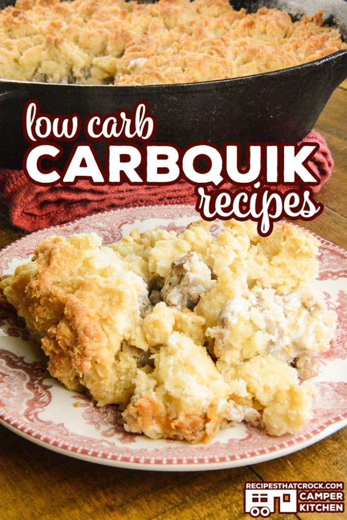 You bought a box of Carbquik and now what? These are our favorite Low Carb Carbquik Recipes including fried chicken, pizza crust, coffee cake, strawberry shortcake, biscuits and gravy and more! Low carb crock pot, oven and air fryer recipes. All made with the low carb biscuit mix alternative.