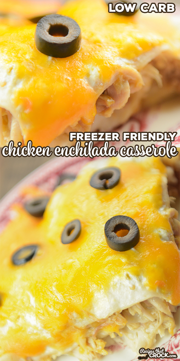 Our Low Carb Chicken Enchilada Casserole takes layers of tortillas, sauce, chicken and cheese to create this family favorite. This freezer friendly recipe is a great make ahead meal.  via @recipescrock