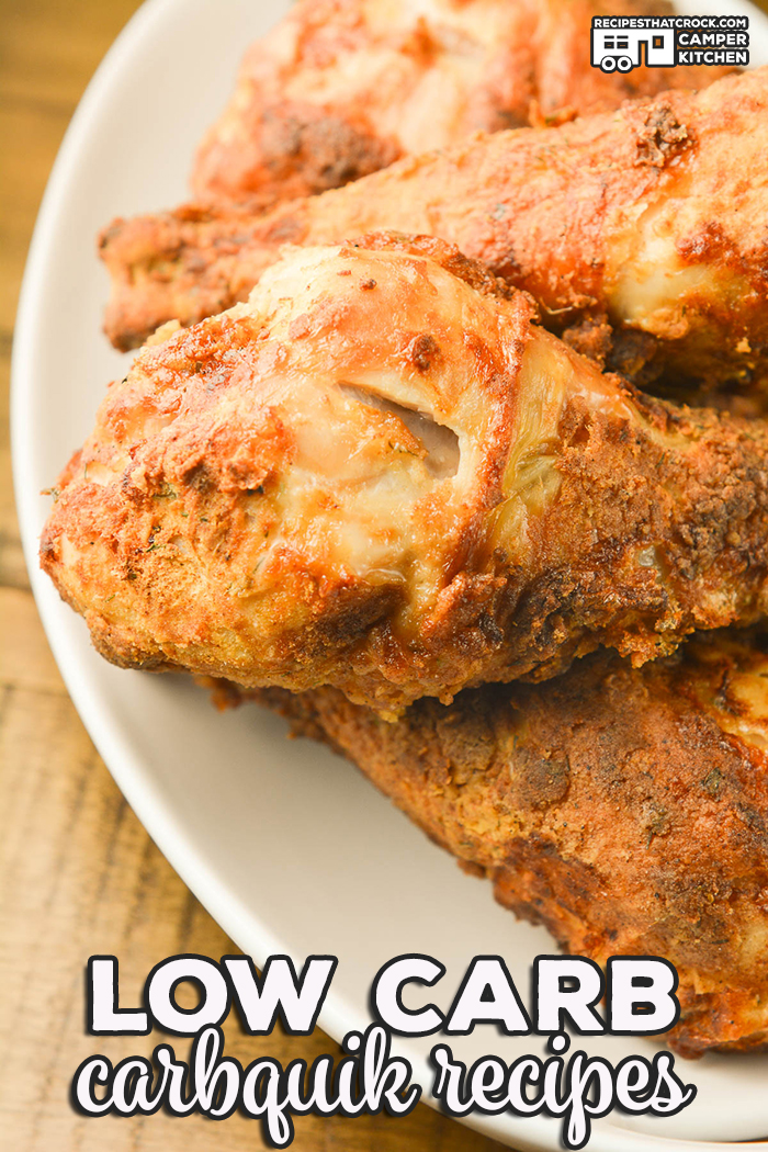 You bought a box of Carbquik and now what? These are our favorite Low Carb Carbquik Recipes including fried chicken, pizza crust, coffee cake, strawberry shortcake, biscuits and gravy and more! Low carb crock pot, oven and air fryer recipes. All made with the low carb biscuit mix alternative. via @recipescrock