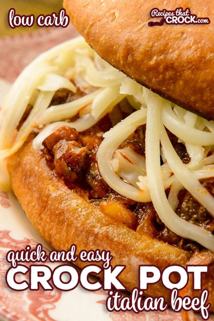 Our quick and easy Crock Pot Italian Beef is a flavorful dish with savory shredded beef and a tomato based pepperoncini sauce. We love eating ours as a sandwich topped with melted mozzarella cheese. Low carb options too!