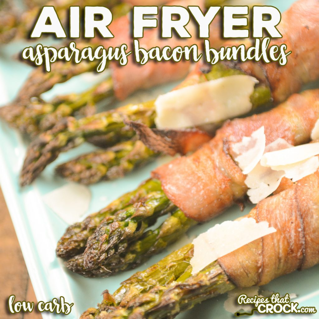 Our Air Fryer Asparagus Bacon Bundles are an easy low carb side dish or appetizer you can make in a traditional air fryer, Ninja Foodi or air fry oven. You'll love these bundles of fresh asparagus wrapped in crispy salty bacon topped with shaved Parmesan cheese.