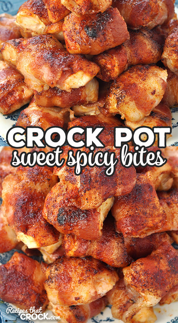 These Crock Pot Sweet Spicy Bites are adapted from our Crock Pot Bacon Wrapped Chicken Bites recipe. The are sweet with just a little kick! Yum! via @recipescrock