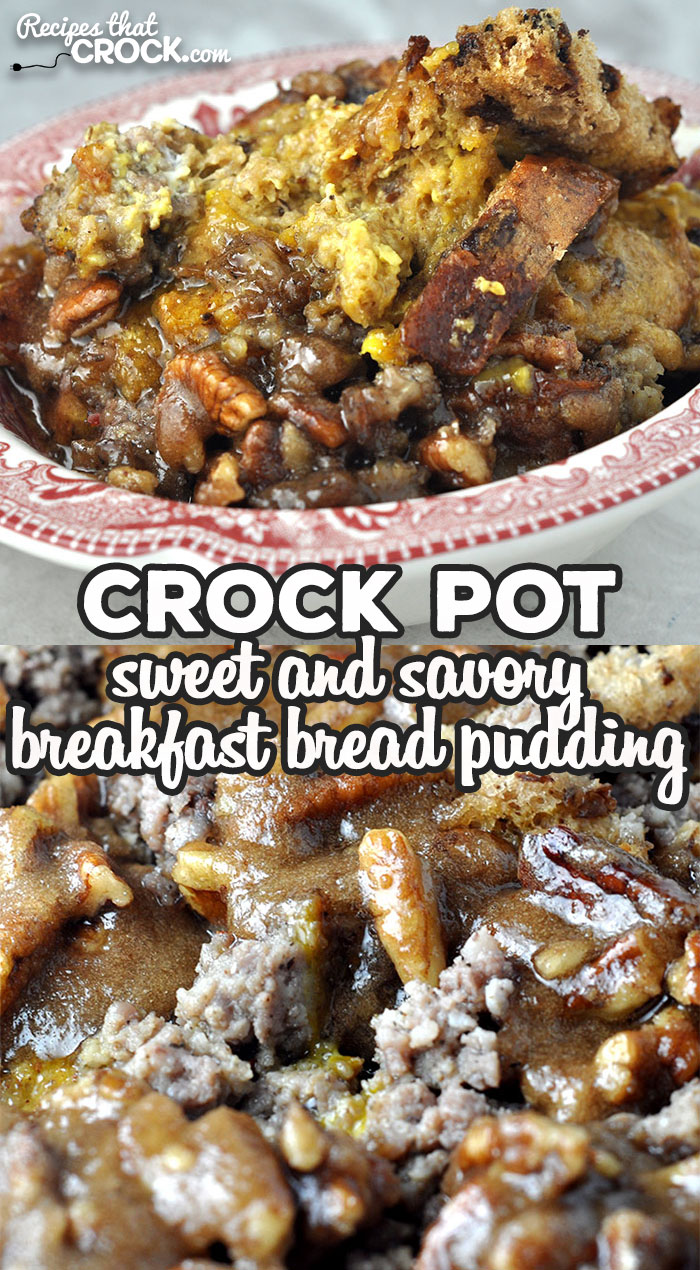 Crock Pot Sweet and Savory Breakfast Bread Pudding is an easy breakfast casserole made with sweet raisin bread and savory ground sausage. via @recipescrock