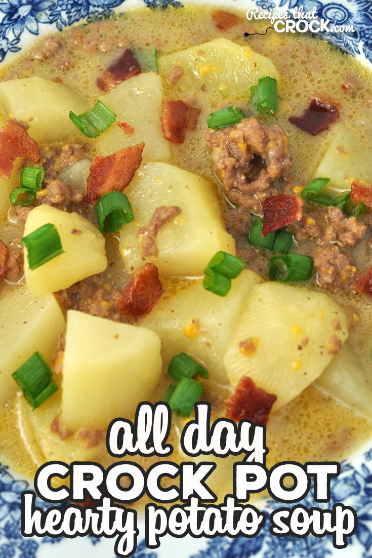 This Hearty Crock Pot Potato Soup recipe has it all! Cheese, beef, bacon, potatoes, onion. What more could you ask for?! It is delicious and filling! via @recipescrock