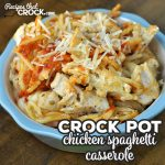 Switch up spaghetti night with this delicious Crock Pot Chicken Spaghetti Casserole recipe. It is super tasty and easy to throw together! Win win!