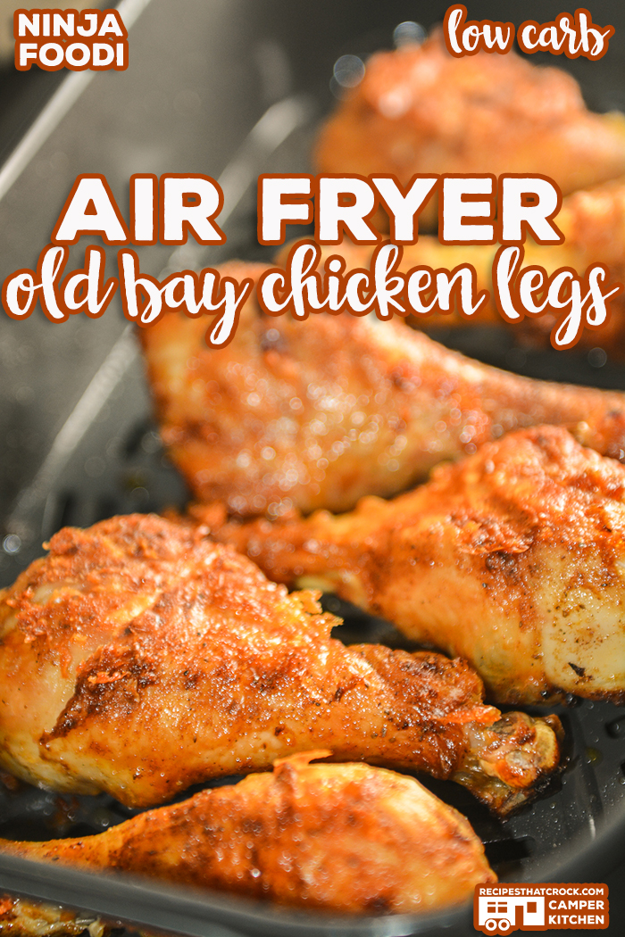 Our Air Fryer Old Bay Chicken Legs are a super simple way to make incredible fried chicken in your Ninja Foodi or traditional air fryer. No one will believe they are low carb too! via @recipescrock