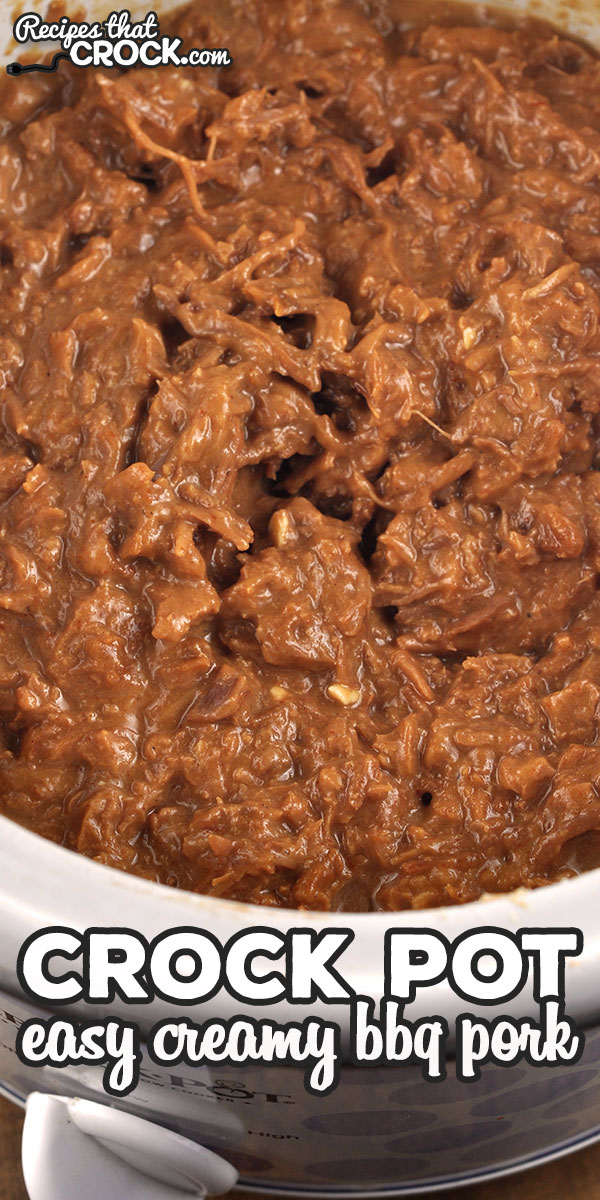This Easy Creamy Crock Pot BBQ Pork recipe will be the easiest and quickest pulled pork recipe you will ever make, and it tastes delicious too! via @recipescrock