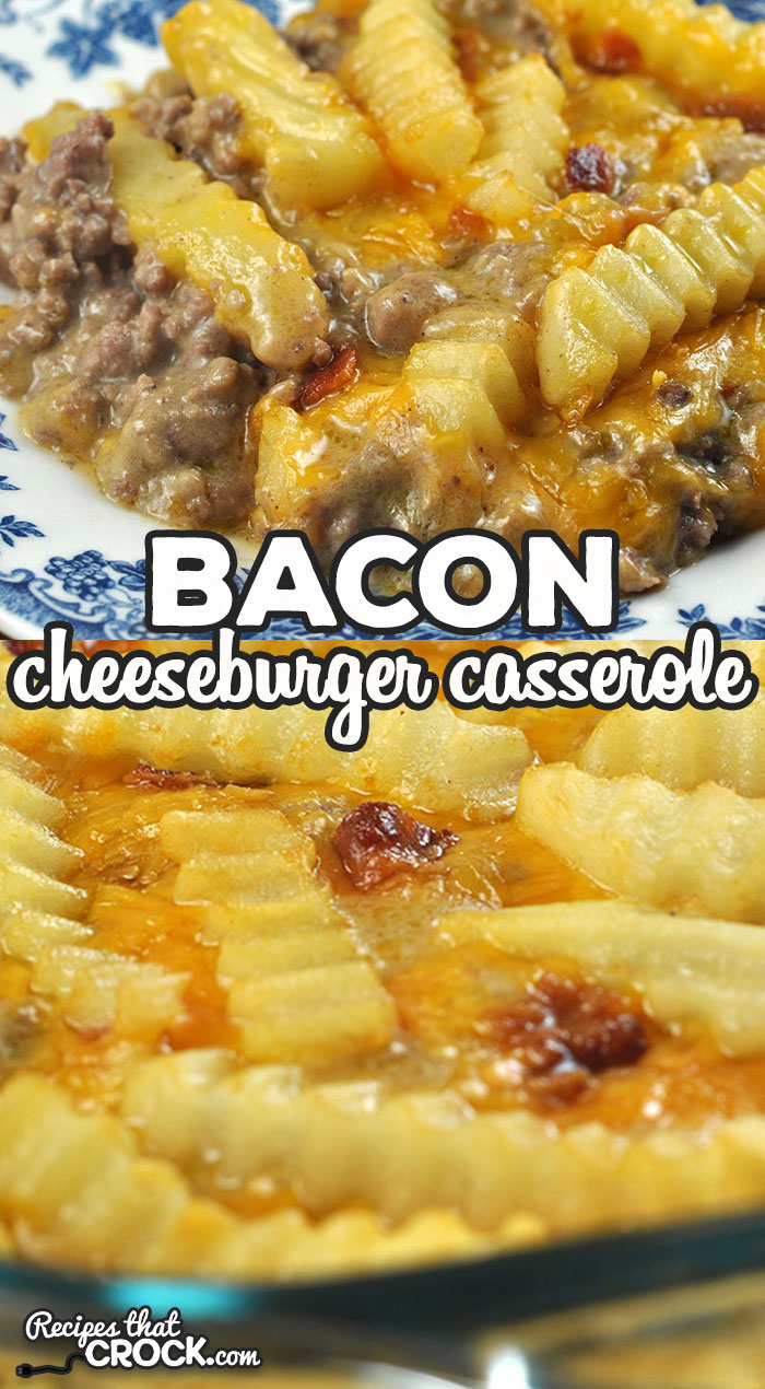 This Bacon Cheeseburger Casserole oven recipe is super easy to make and is ready in under and hour. My entire family gobble it up! I bet yours will too! via @recipescrock