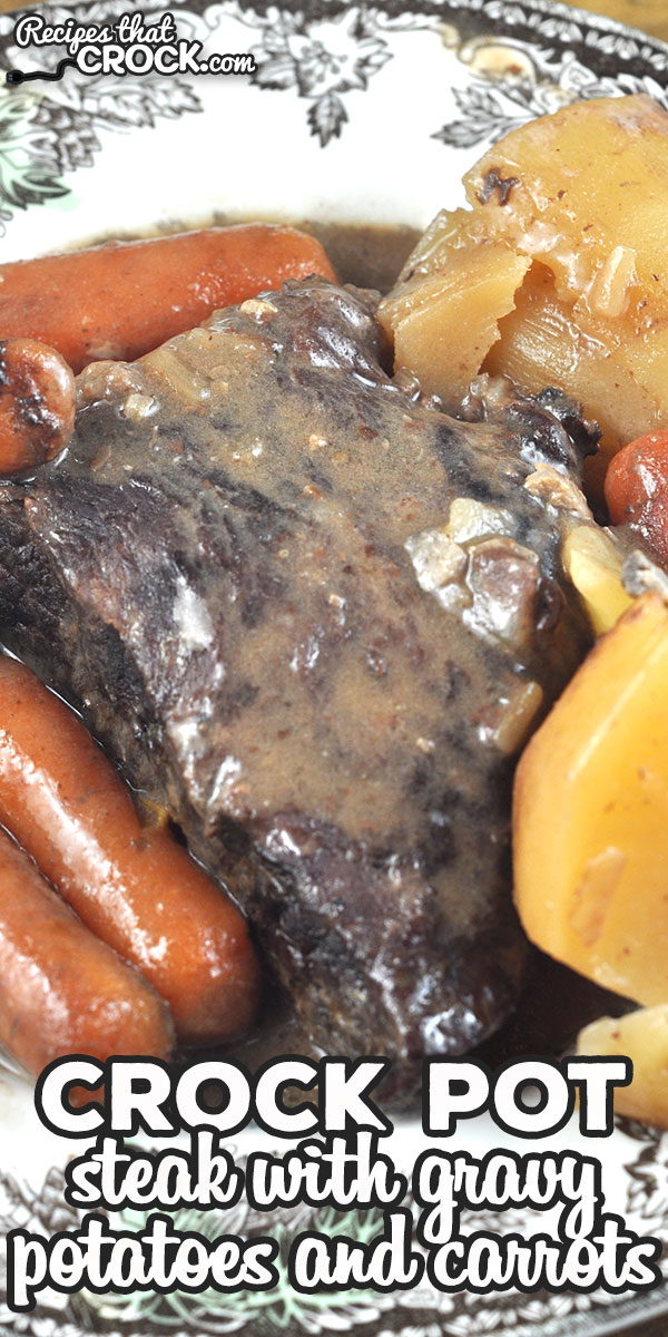 This Crock Pot Steak with Gravy Potatoes and Carrots recipe takes my Slow Cooker Steak with Gravy recipe and makes it a one pot meal!  via @recipescrock