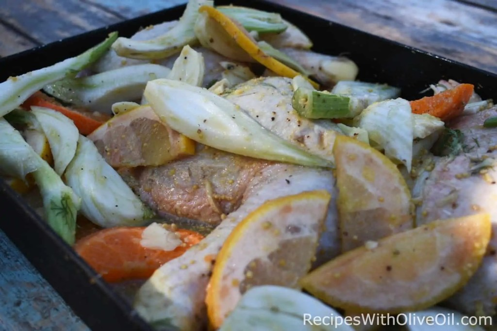 Marinated chicken leg quarters with citrus and fennel