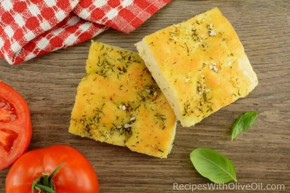 focaccia bread slices with tomatoes
