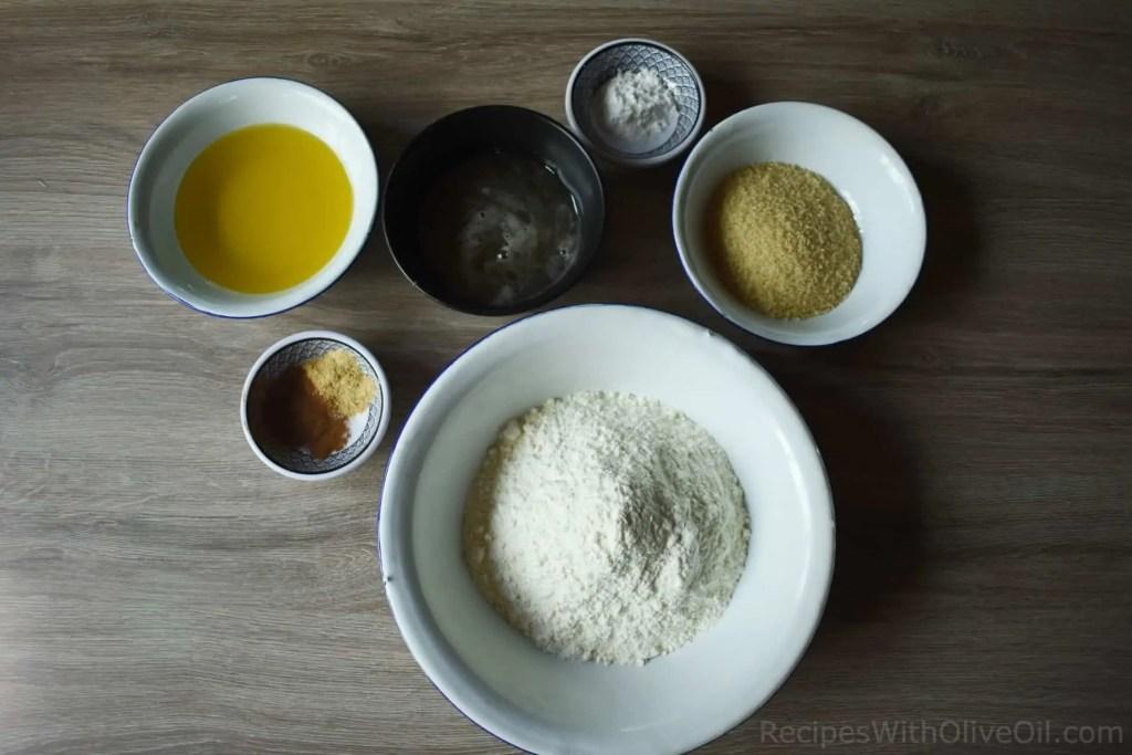 ingredients for cinnamon and honey cookies