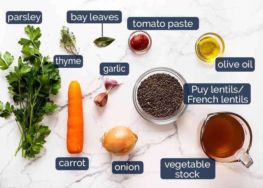 Ingredients in Lentil Ragout - French lentil side dish