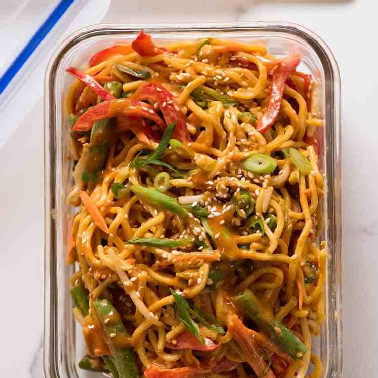 Noodle Salad (Lunch Idea for Work) in a glass container