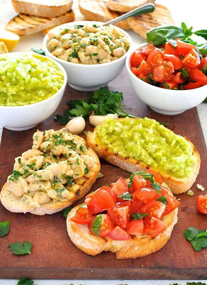 Transform a humble can of cannellini beans into something amazing. One of 3 bruschetta toppings for a Trio of Bruschetta Spread. #Italian #appetizer #starter