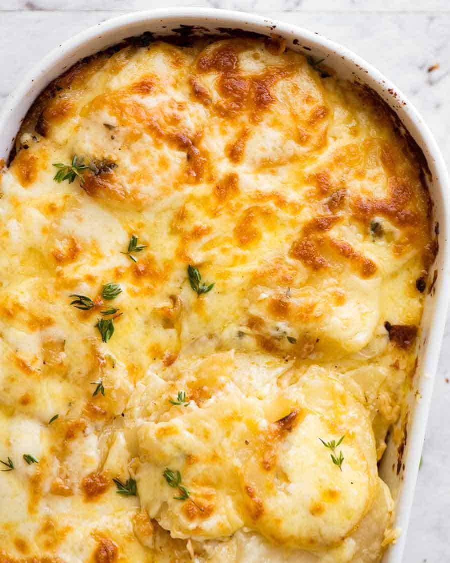 Potatoes au gratin (Dauphinoise Potatoes) fresh out of the oven, ready to be served