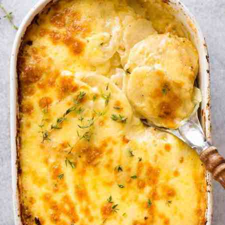 Potatoes au gratin (Dauphinoise Potatoes) fresh out of the oven