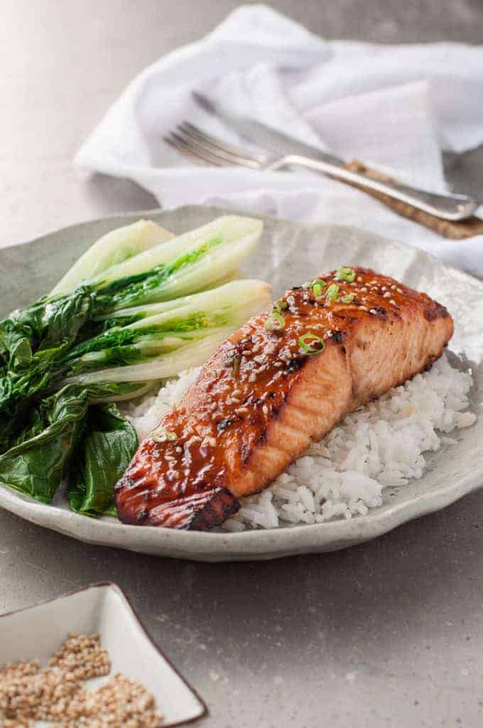 Asian Glazed Salmon - Just 5 ingredients for the marinade, and it's on the table in 15 minutes!