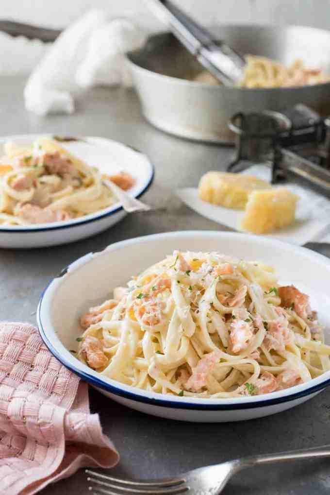 Salmon Alfredo Pasta - Just a handful of ingredients and 15 minutes to make this luscious pasta.