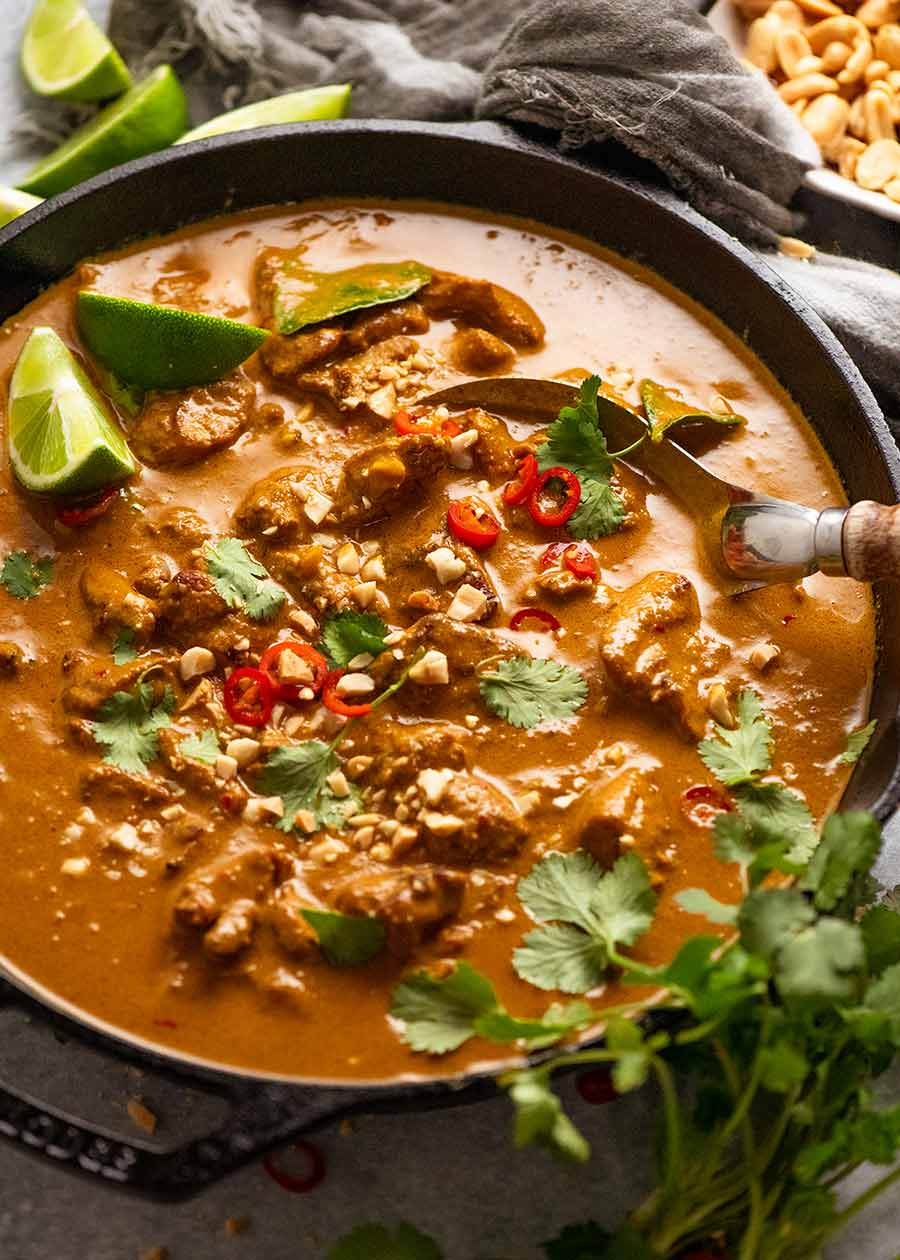 Chicken Satay Curry (Malaysian) in a skillet, fresh off the stove