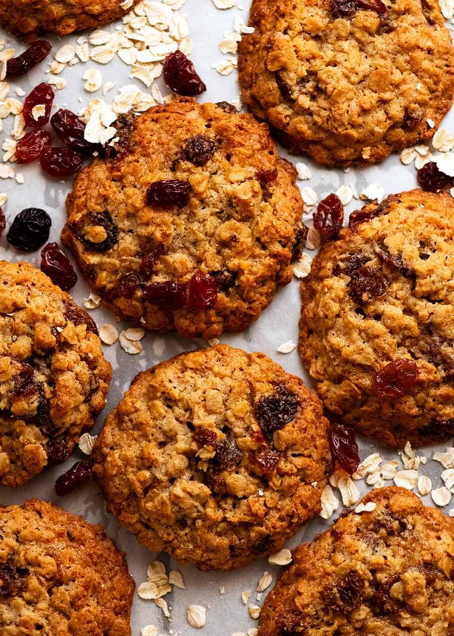 Overhead photo of freshly baked Oatmeal Raisin Cookies
