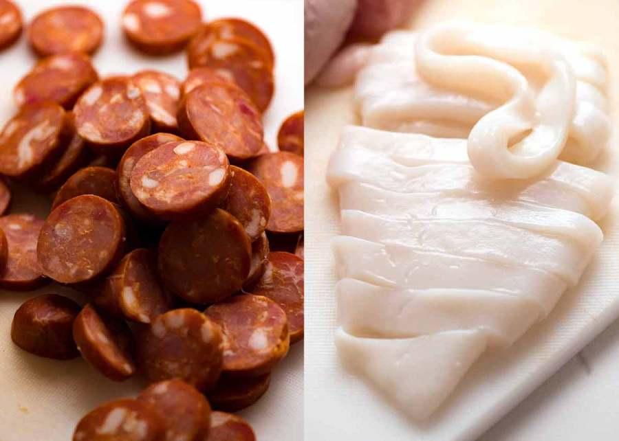 Chorizo and squid calamari for Paella