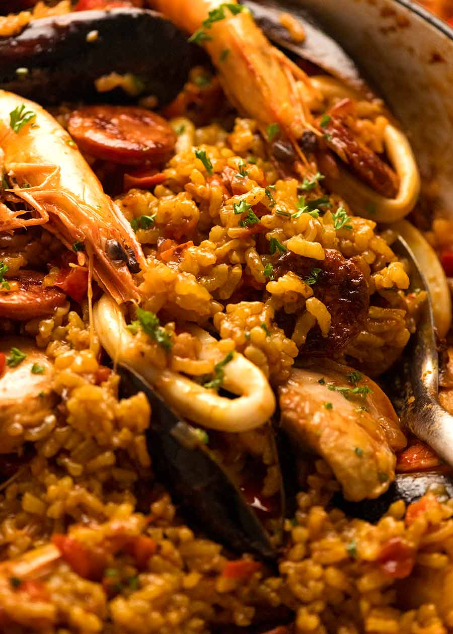 Close up of Paella fresh off the stove