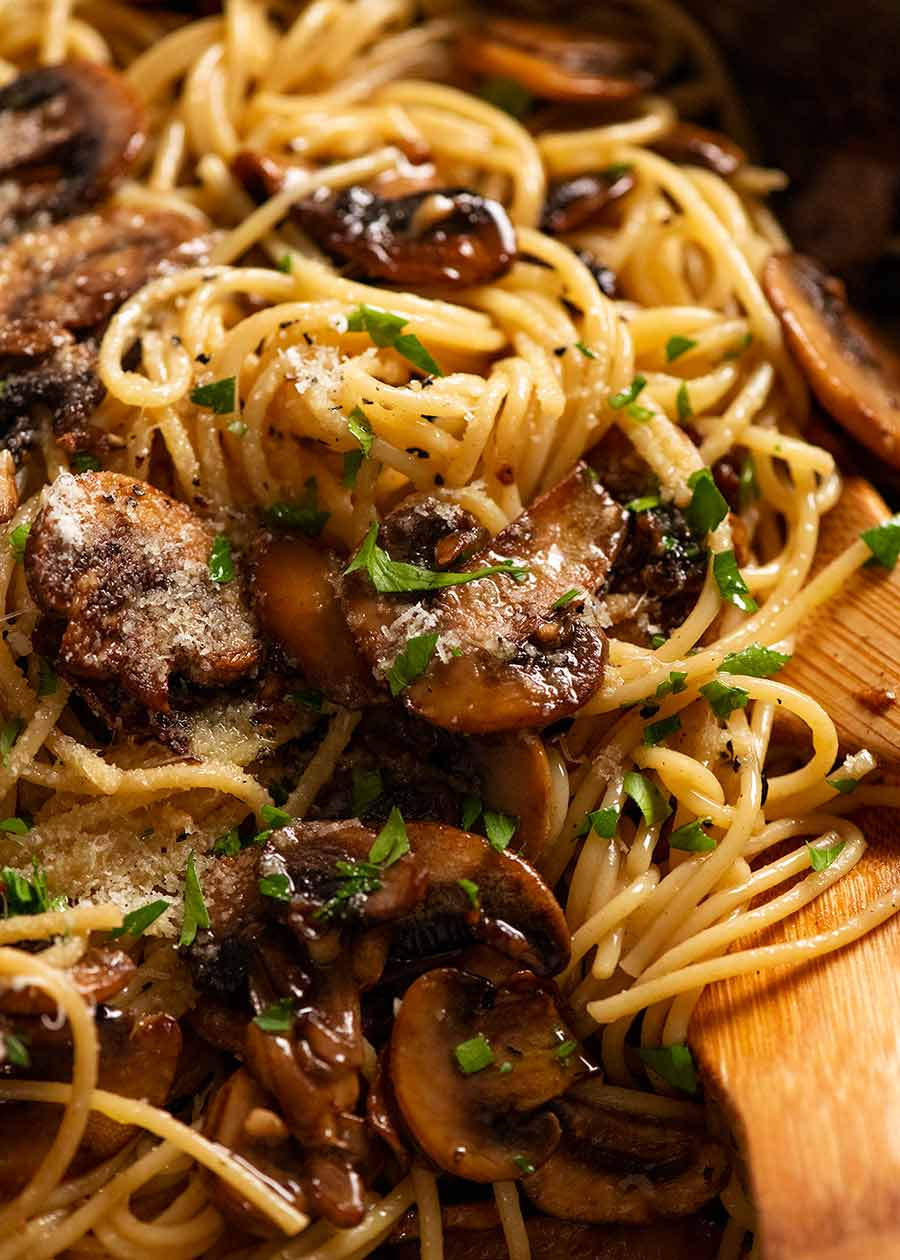 Close up of freshly cooked Mushroom pasta