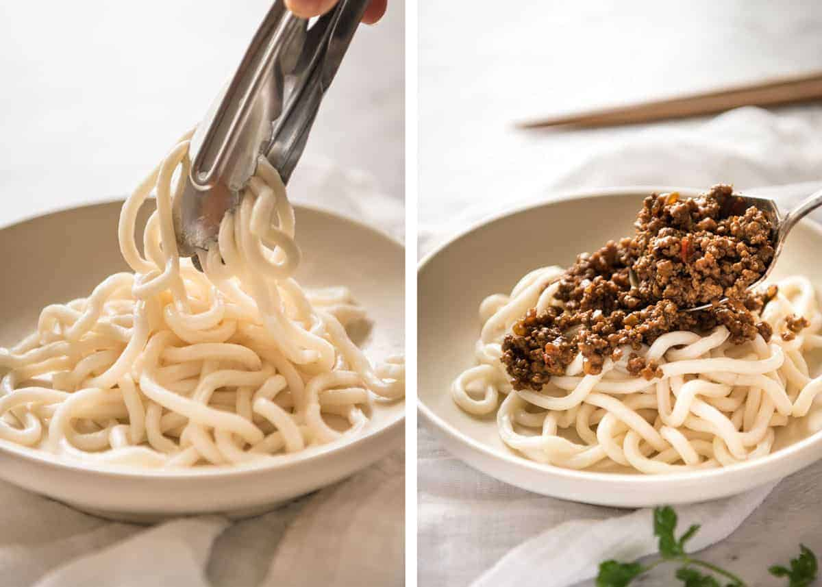 """Chinese Pork Mince with Noodles (Zha Jiang Mian) - Super quick and super tasty, affectionally known as """"Chinese Bolognese"""". The pork is savoury with a touch of heat and spice, perfect mixed through noodles! www.recipetineats.com"""
