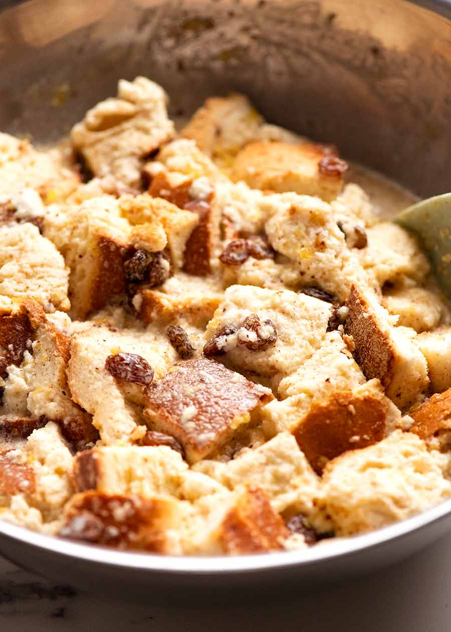 Bowl of Bread and Butter Pudding mixture, ready to be poured into baking dish
