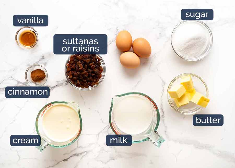 Ingredients in Bread and Butter Pudding