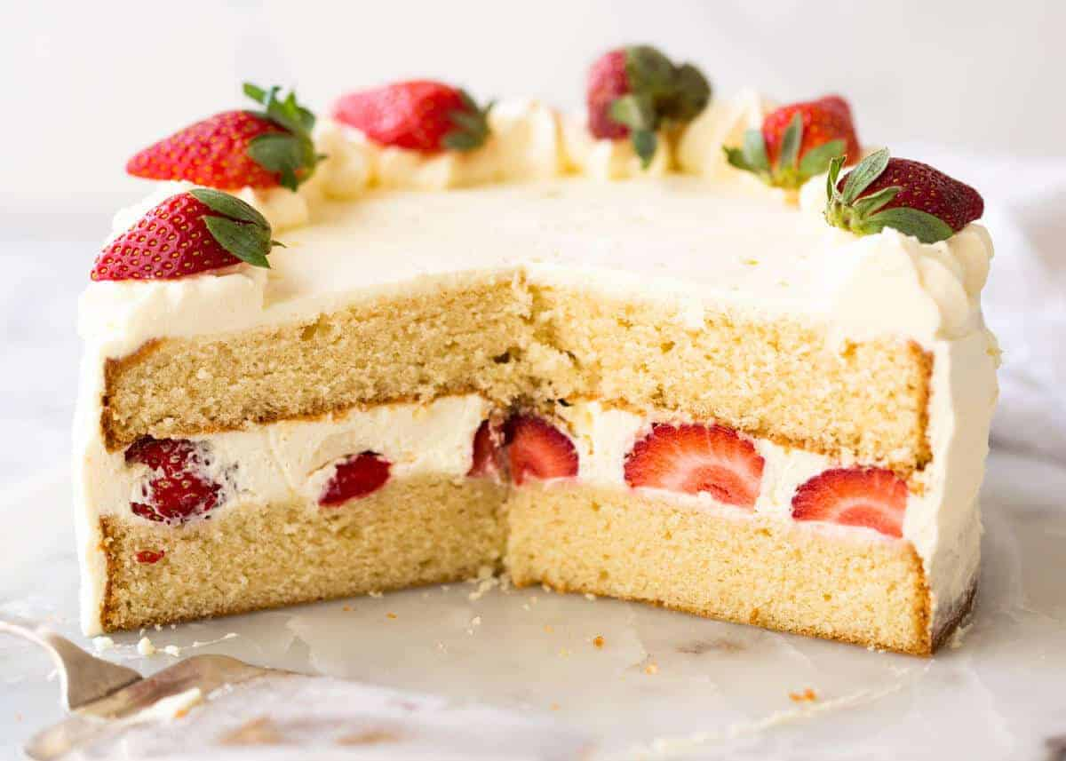 An exceptional, classic Vanilla Sponge Cake. Tender crumb, moist, keeps well for 3 days. A Cooks' Illustrated recipe. www.recipetineats.com