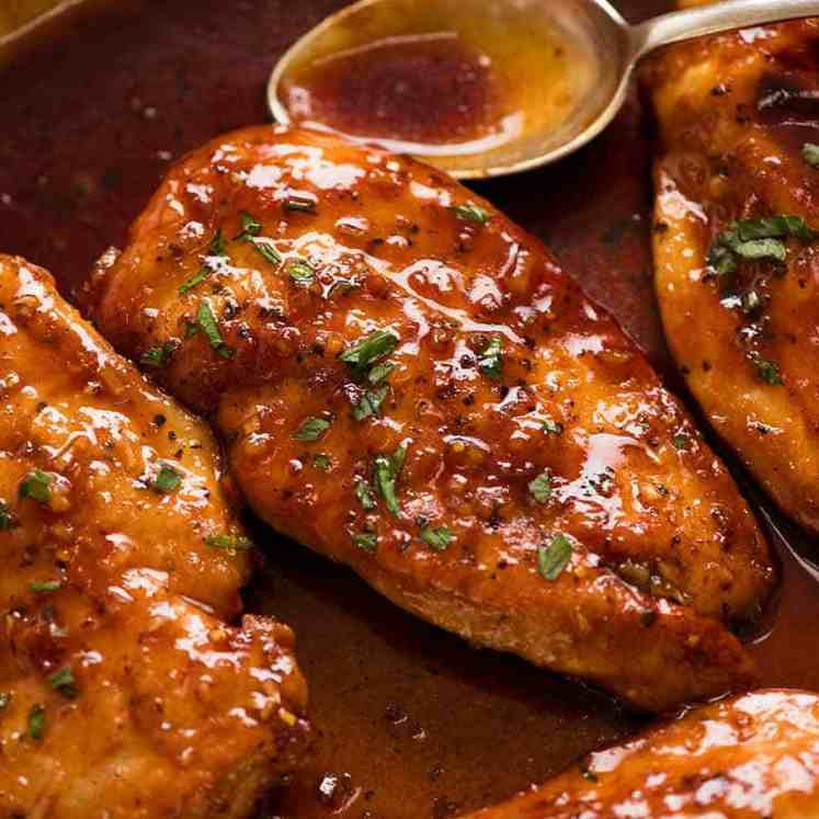 Honey Garlic Chicken Breast in a skillet, fresh off the stove