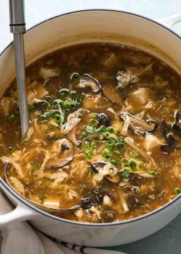 White pot with hot and sour soup, fresh off the Tove
