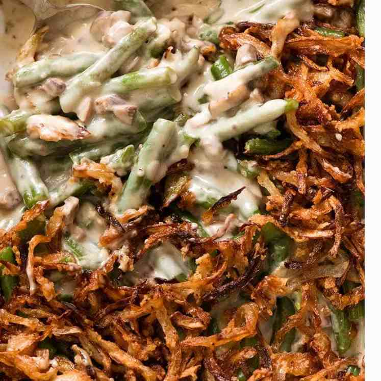 Close up of Green Bean Casserole in a casserole dish, fresh out of the oven