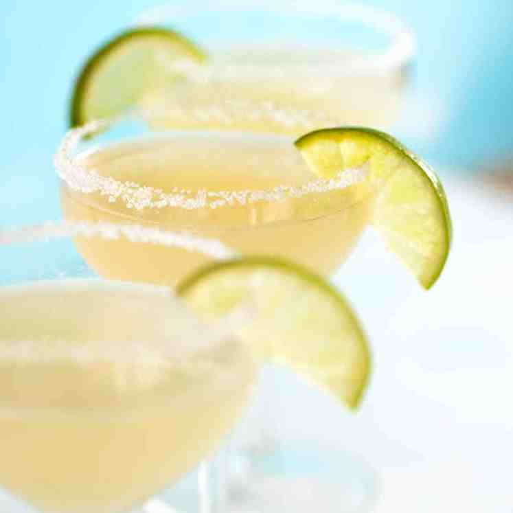 3 Margaritas with salt rim and lime slice