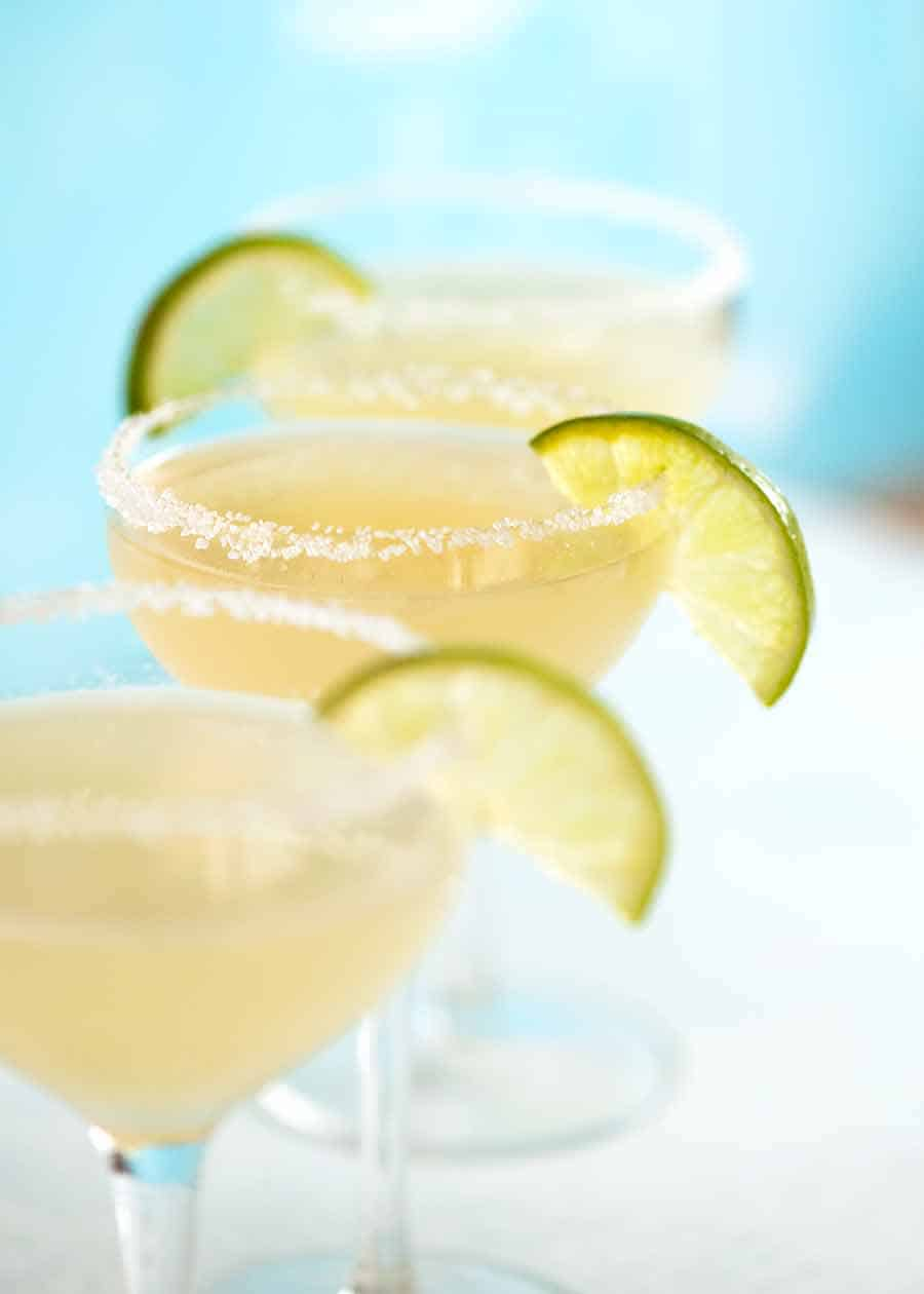 3 Margaritas with salt rim and lime slice