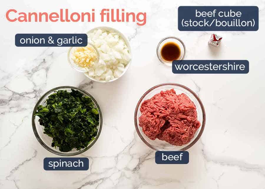 What goes in Spinach Beef Cannelloni Filling
