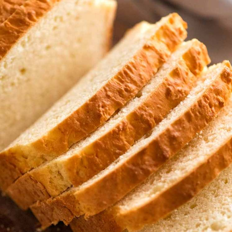 Close up of sandwich bread without yeast