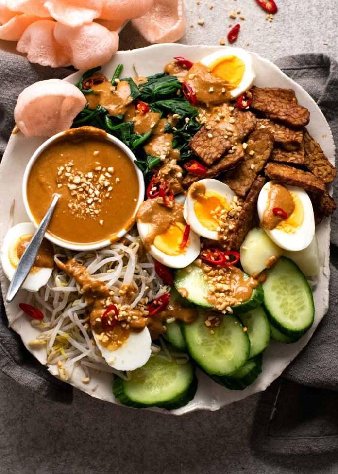 Gado Gado Indonesian Salad With Peanut Sauce Recipetin Eats