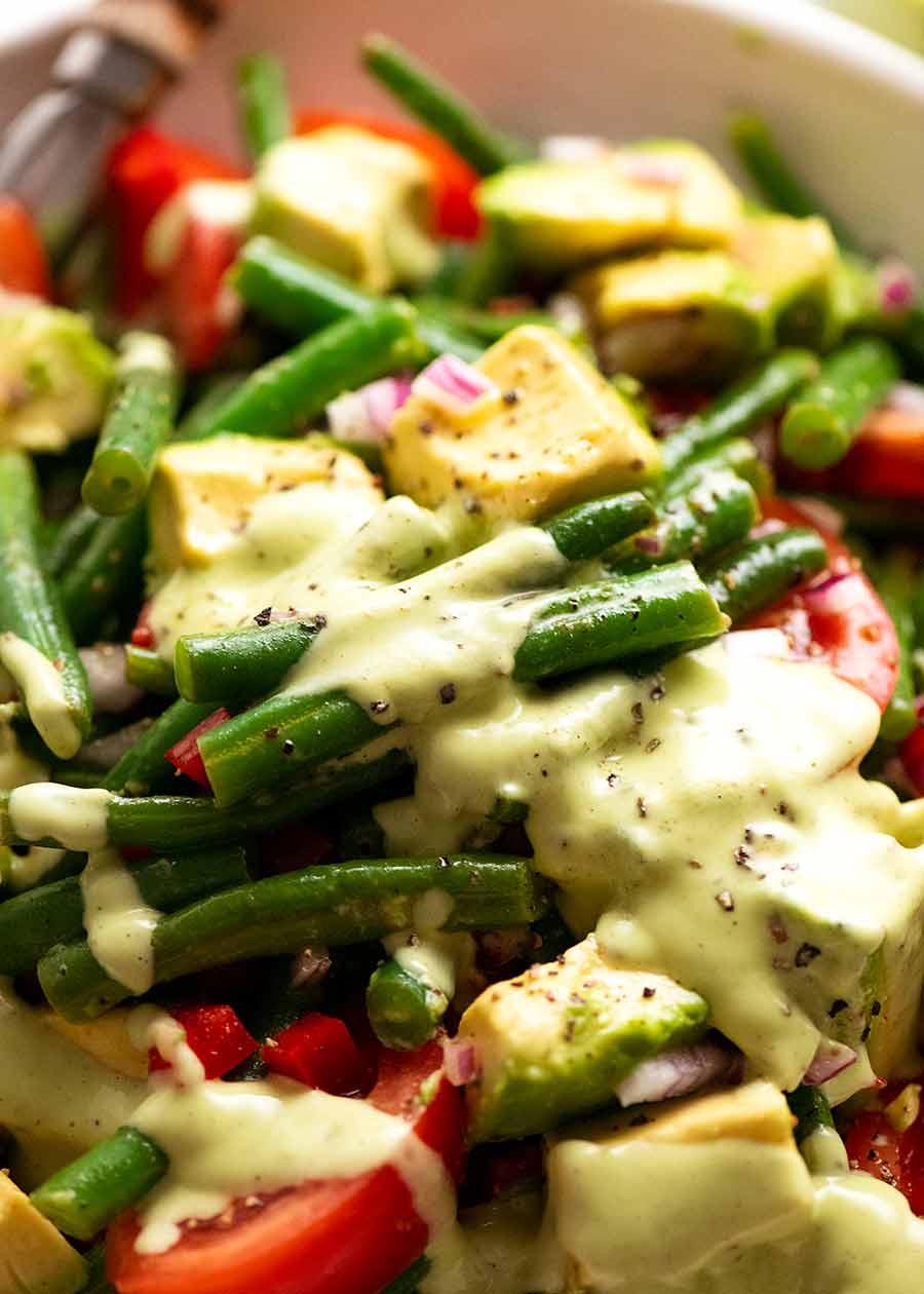 Close up of Green Bean Avocado Salad with Avocado Dressing