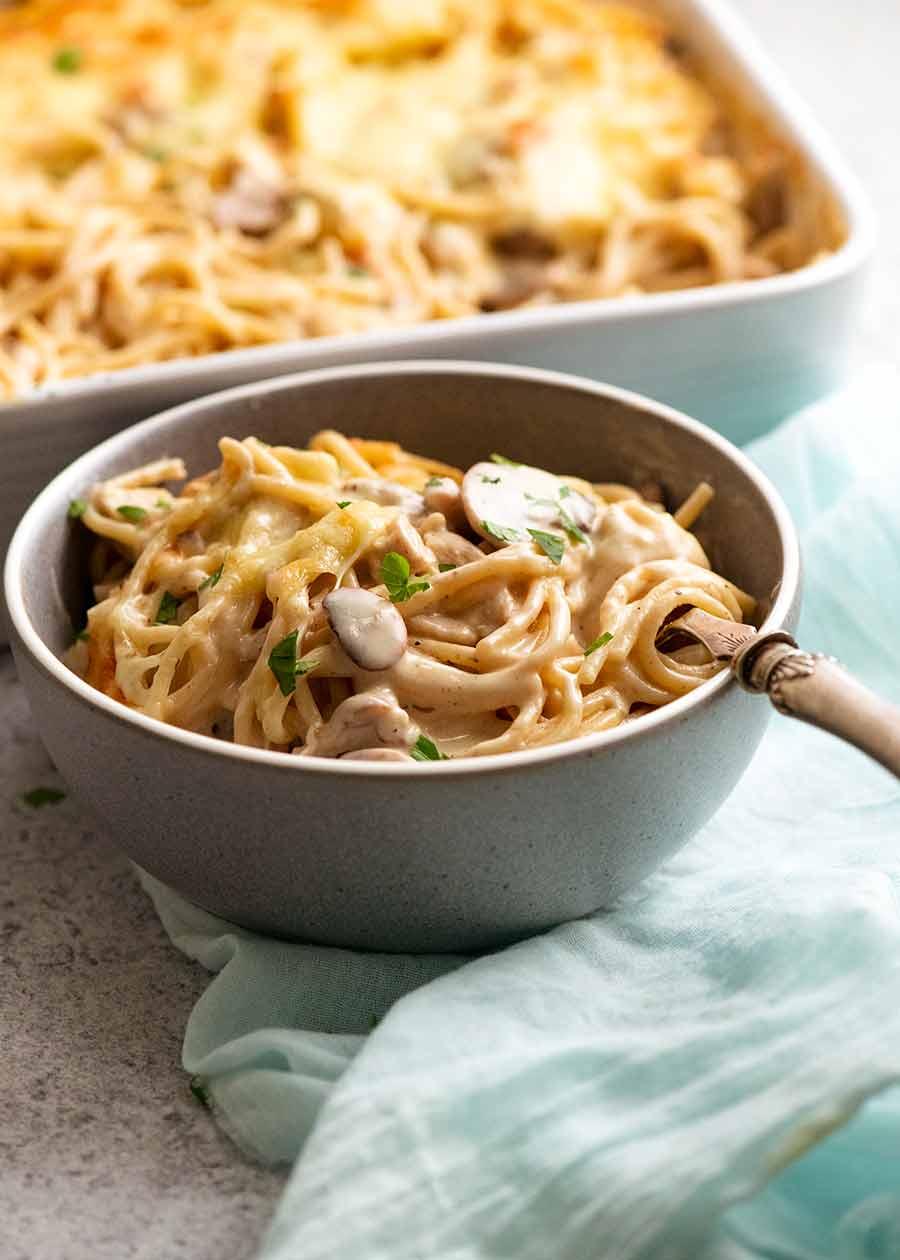 Bowl of Chicken Tetrazzini - creamy chicken mushroom pasta bake - ready to be eaten