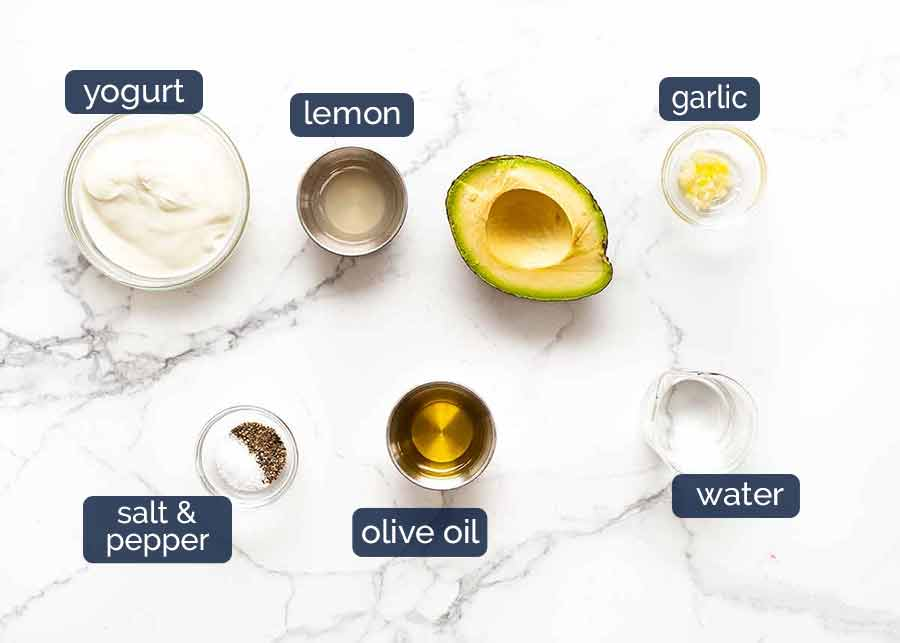 Ingredients for Creamy Avocado Dressing