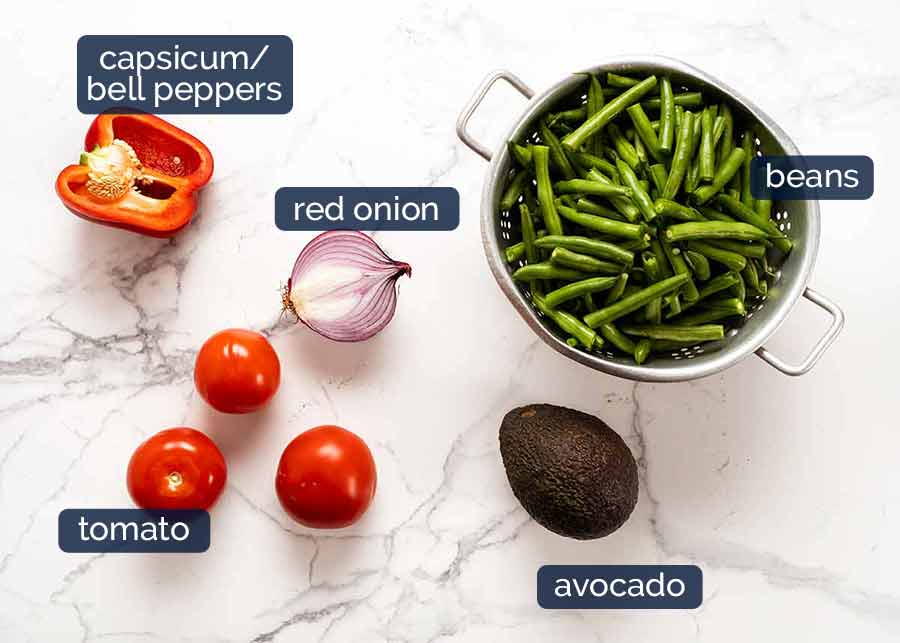 Ingredients in Green Bean Avocado Salad with Avocado Dressing