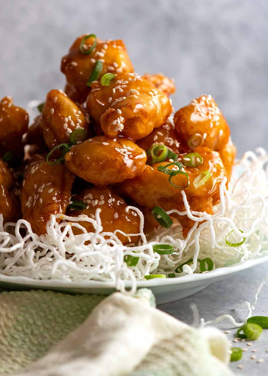 Pile of Honey Chicken on a plate - built to last, stay crispy