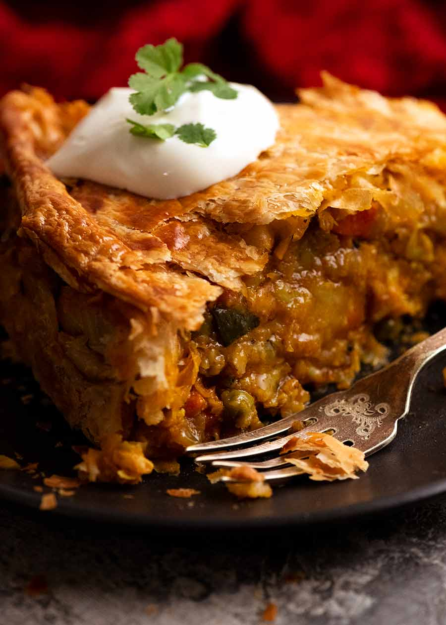 Showing filling of Vegetable Samosa Pie
